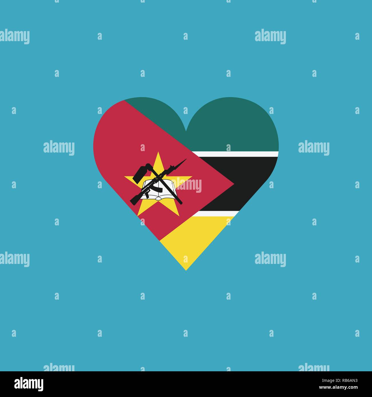 Mozambique flag icon in a heart shape in flat design