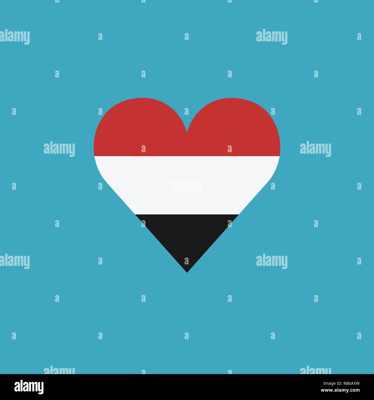 Yemen flag icon in a heart shape in flat design. Independence day or National day holiday concept. - Stock Vector
