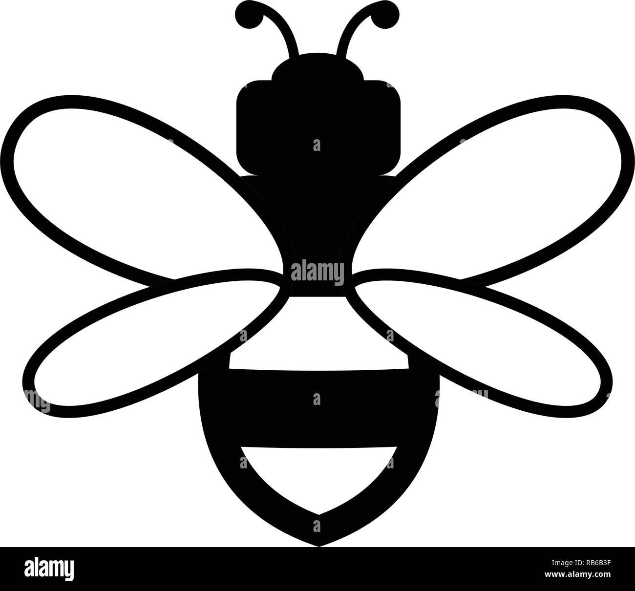 vector bee icon isolated on white background.flat bumblebee logo  cartoon. honey bee simple illustration - Stock Image