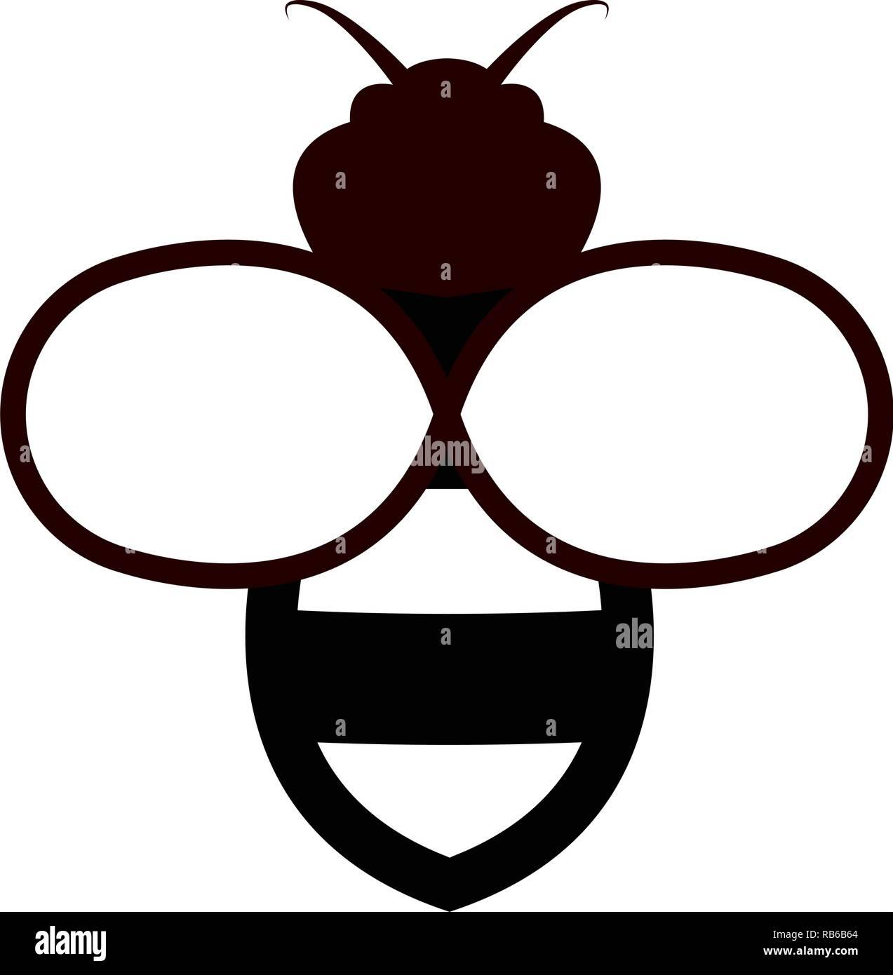 vector bee icon isolated on white background.flat bumblebee logo  cartoon. honey bee simple illustration - Stock Vector