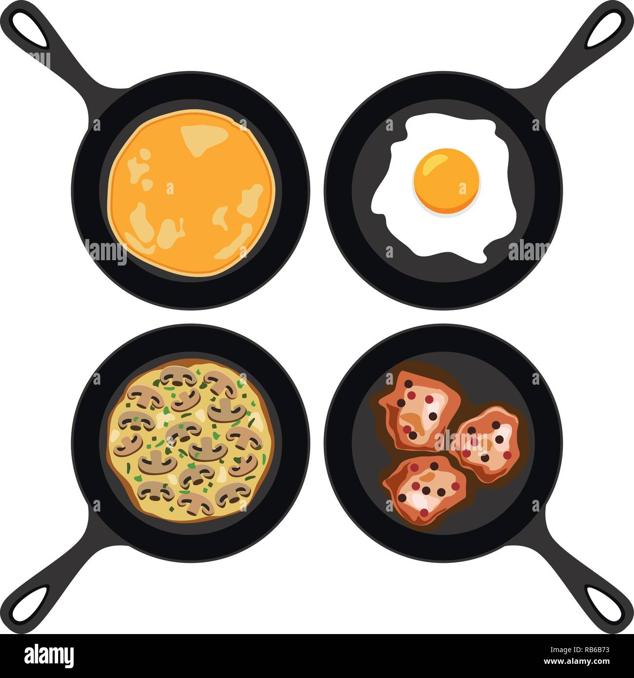 vector set of pans with pancake, fried egg, omelet with mushrooms and fried meat. collection of breakfast, dinner and supper flat icons isolated on wh - Stock Vector
