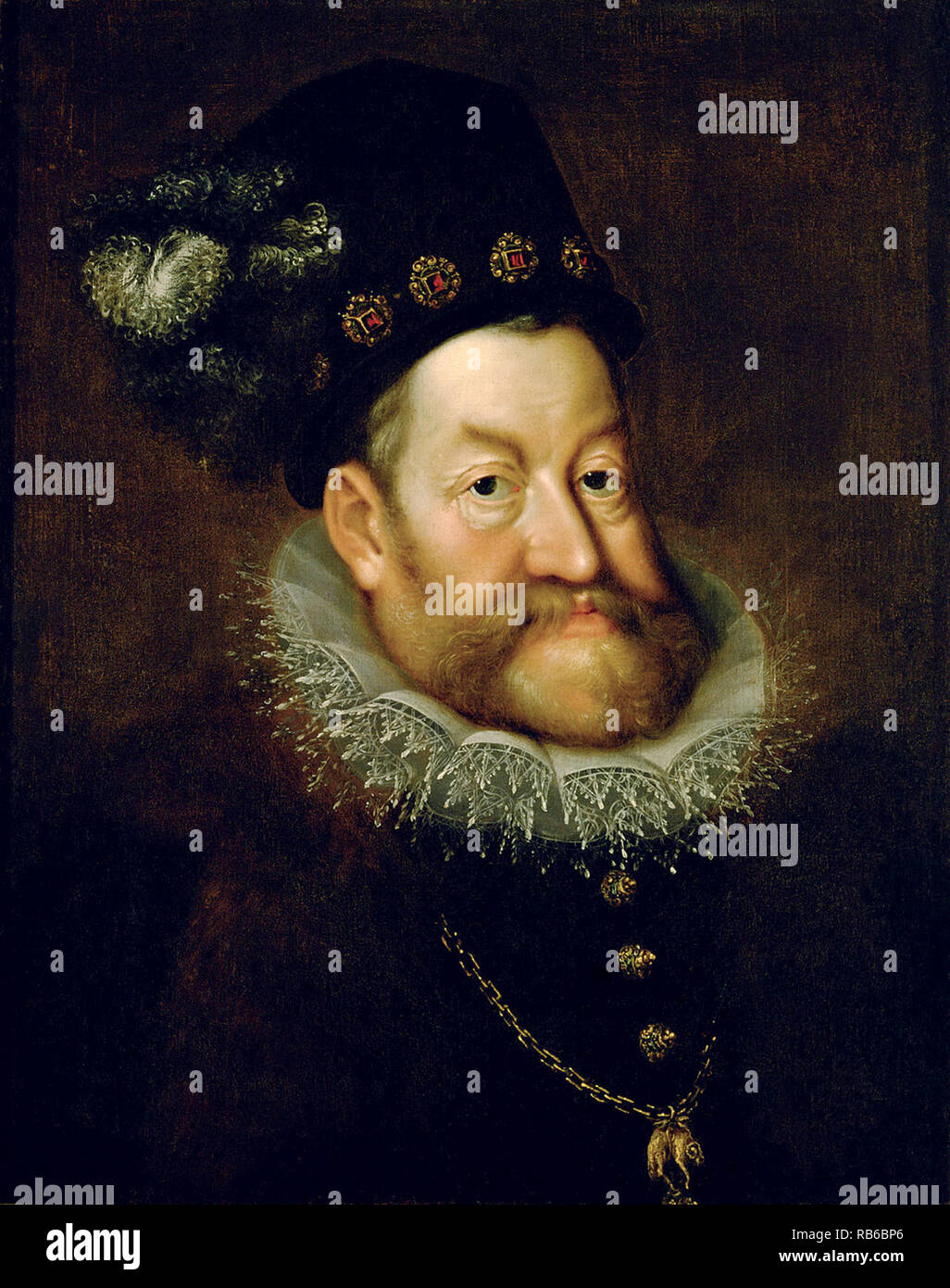 Rudolf II (1552 – 1612) Holy Roman Emperor, King of Hungary and Croatia (as Rudolf I, 1572–1608), King of Bohemia (1575–1608/1611) and Archduke of Austria (1576–1608). He was a member of the House of Habsburg. - Stock Image