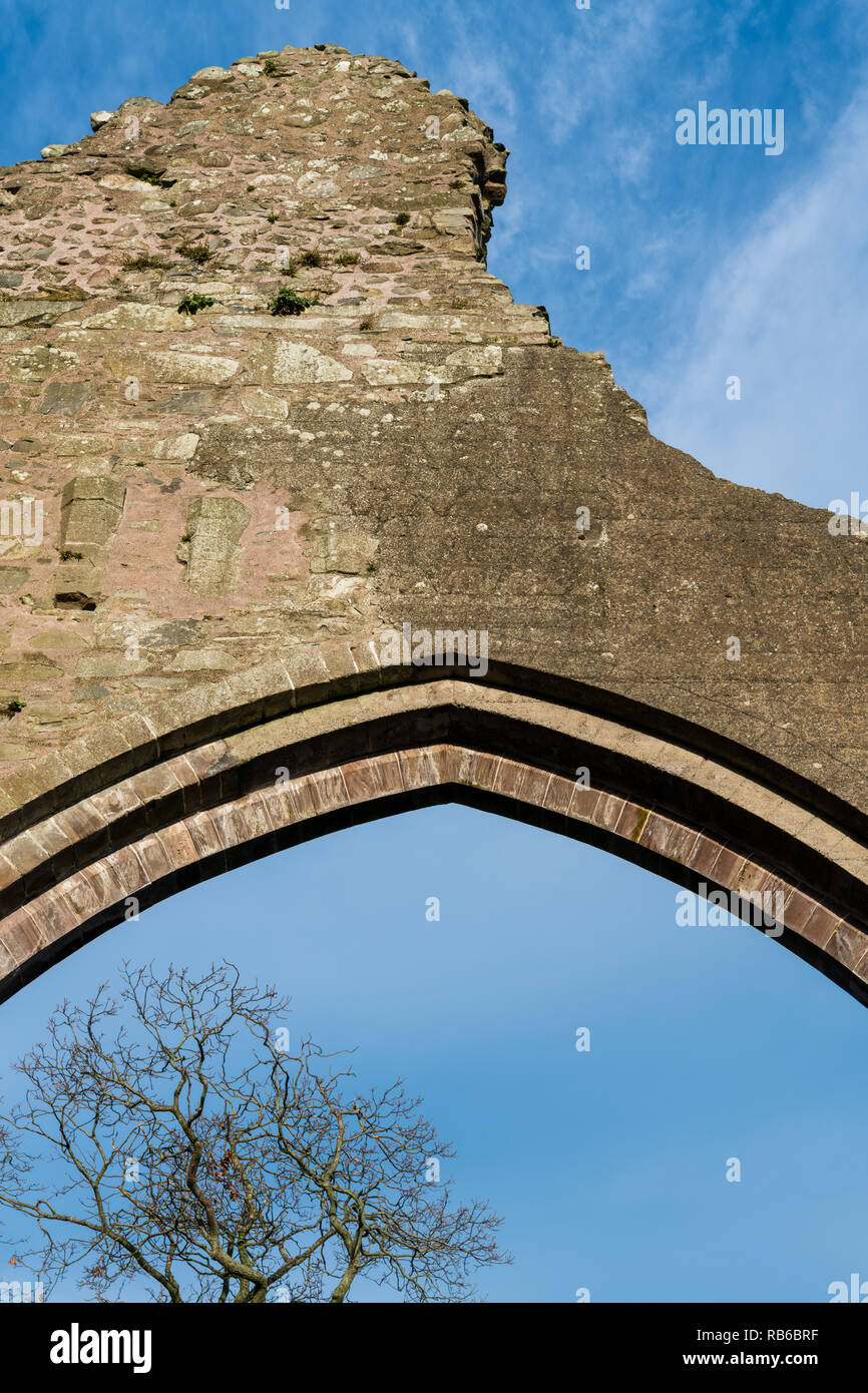 Ancient, medieval arch in the ruined stone wall of an olc church frames a blue sky and bare tree branches at Greyabbey, County Down, Northern Ireland Stock Photo