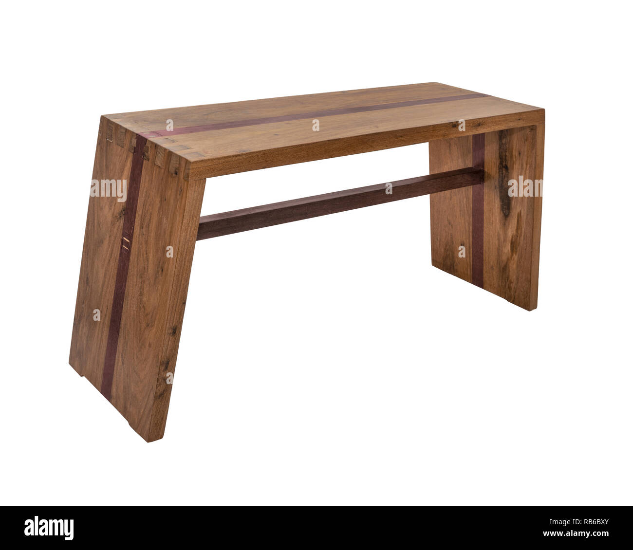 Bench. Wooden. of rough planks and logs. rustic bench of ecological materials - Stock Image
