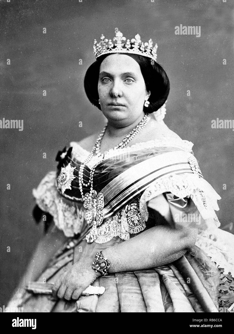 Isabella II (1830 – 1904) Queen of Spain from 1833 until 1868. - Stock Image