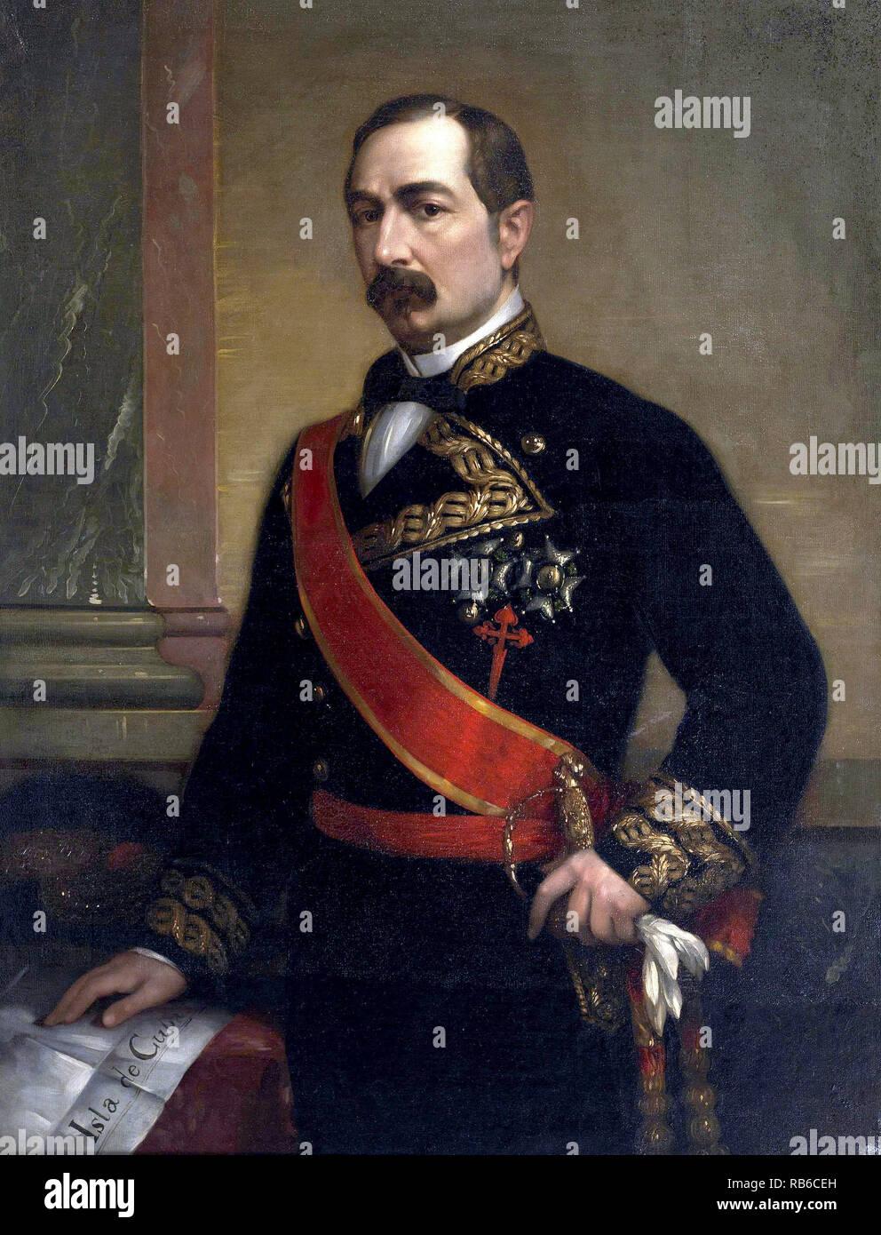 José Gutiérrez De la Concha, 1st Marquess of Havana, 1st Viscount of Cuba, Grandee of Spain (1809 – 1895) Spanish politician and Prime Minister of Spain - Stock Image