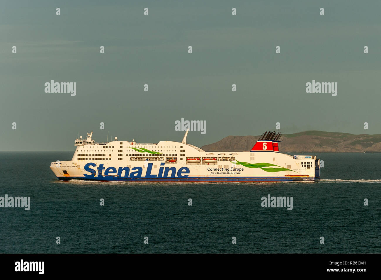 Stena Line ferry 'Stena Adventurer' departs Holyhead Ferry Port heading for Dublin, Ireland with copy space. - Stock Image