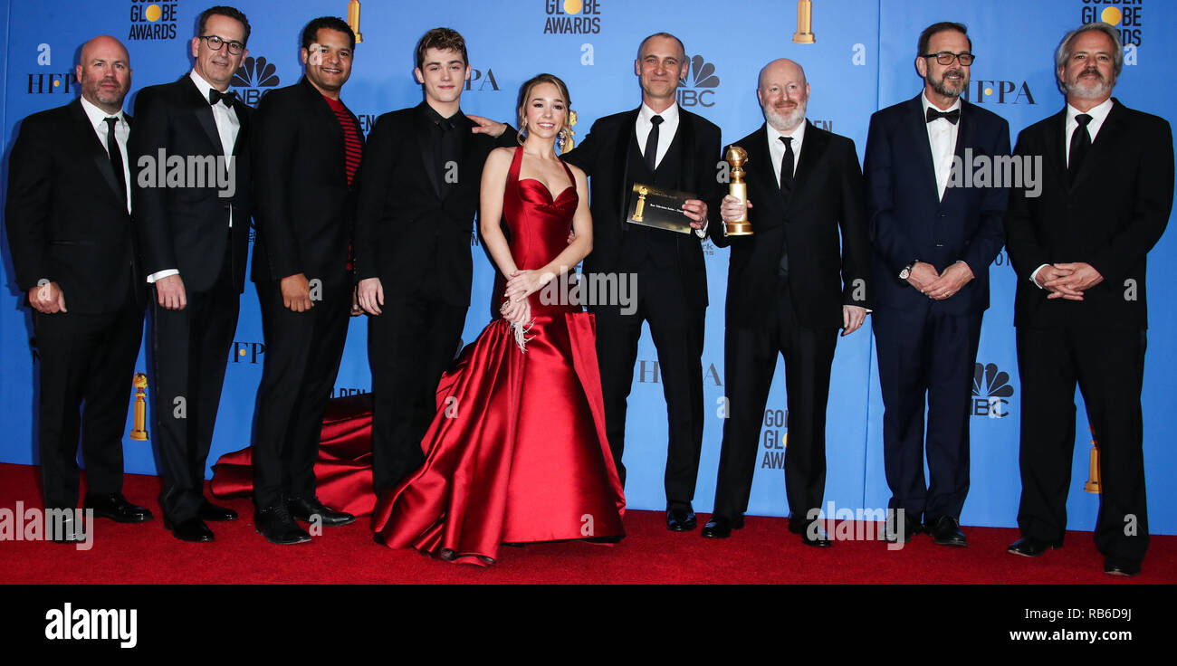Beverly Hills, United States. 06th Jan, 2019. BEVERLY HILLS, LOS ANGELES, CA, USA - JANUARY 06: Holly Taylor, Joe Weisberg, Joel Fields, Graham Yost, Darryl Frank, Justin Falvey, Peter Ackerman, Brandon J. Dirden and Keidrich Sellati pose in the press room at the 76th Annual Golden Globe Awards held at The Beverly Hilton Hotel on January 6, 2019 in Beverly Hills, Los Angeles, California, United States. (Xavier Collin/Image Press Agency) Credit: Image Press Agency/Alamy Live News - Stock Image