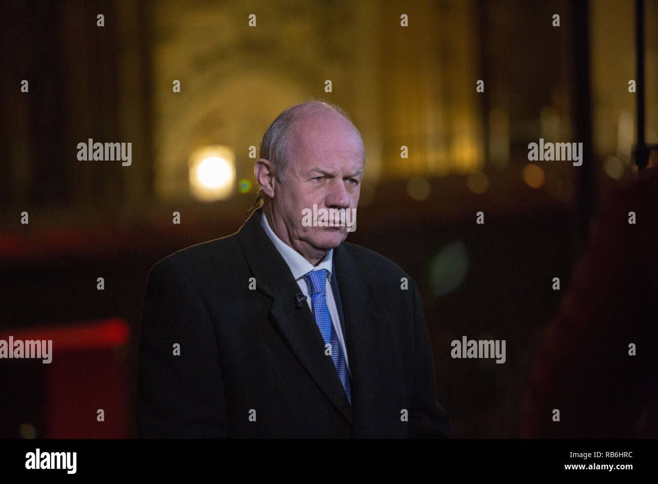 College Green, London, UK. 7th Jan, 2019. Damian Green talks to the media on College Green Credit: George Cracknell Wright/Alamy Live News - Stock Image