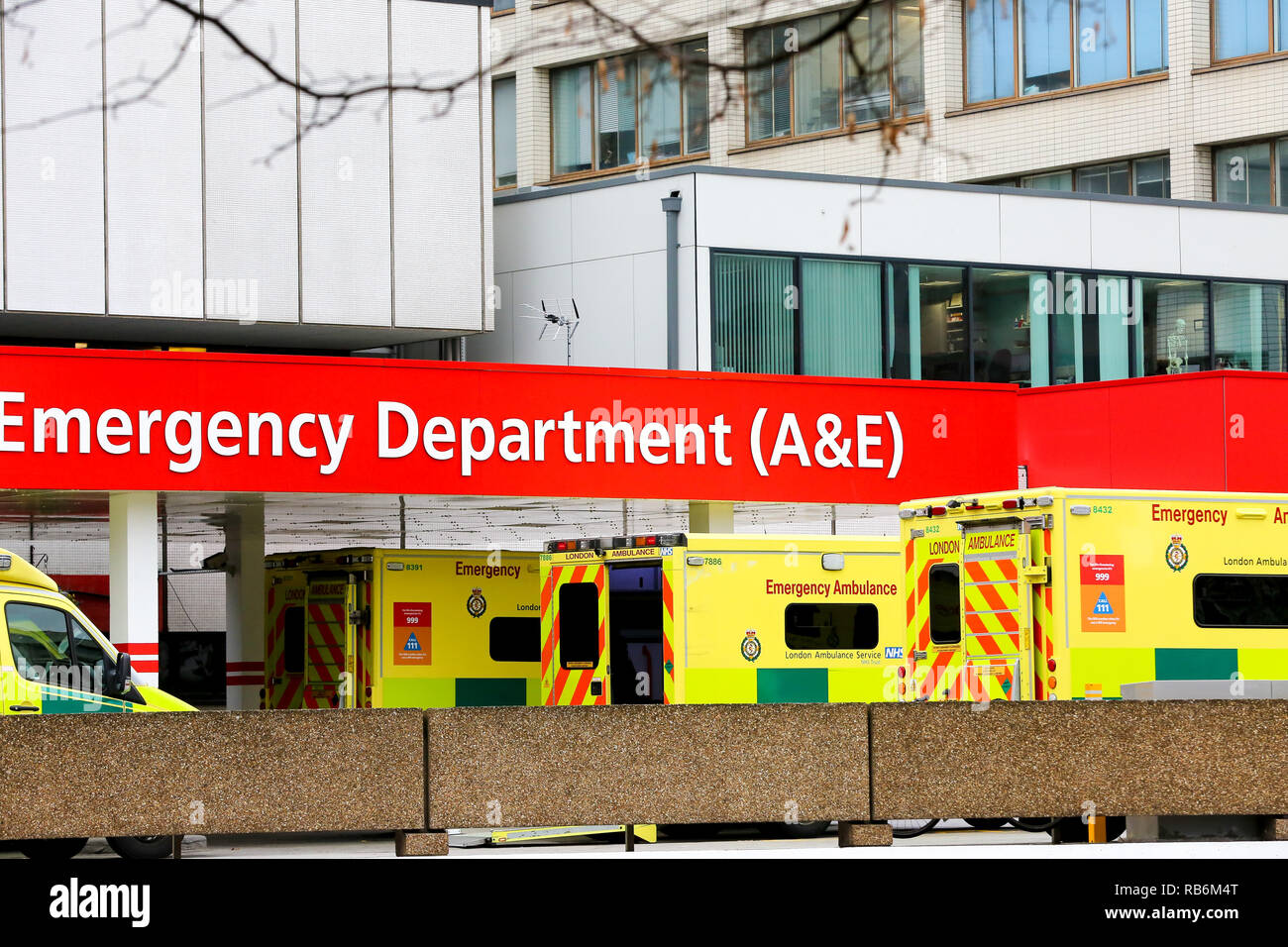 January 7, 2019 - London, United Kingdom - Ambulances are seen parked outside an Emergency Department (A&E) at the  hospital in Westminster. (Credit Image: © Dinendra Haria/SOPA Images via ZUMA Wire) - Stock Image