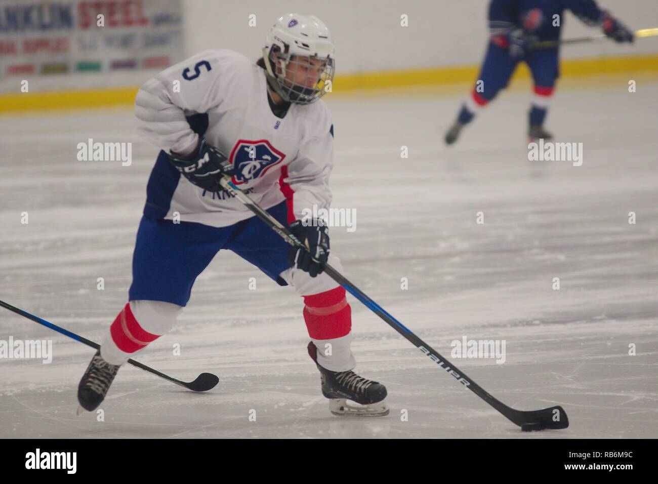 Dumfries, Scotland, 7 January 2019. Eloise Jure playing for France in the 2019 Ice Hockey U18 Women's World Championship, Division 1, Group B, at Dumfries Ice Bowl. Credit: Colin Edwards/Alamy Live News. - Stock Image
