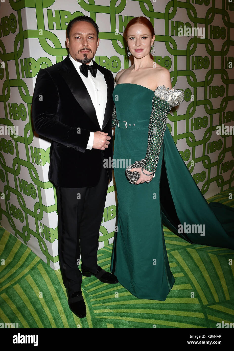 BEVERLY HILLS, CA - JANUARY 06: Barbara Meier (R) and Klemens Hallmann attend HBO's Official Golden Globe Awards After Party at Circa 55 Restaurant at the Beverly Hilton Hotel on January 6, 2019 in Beverly Hills, California. Credit: Jeffrey Mayer/Alamy Live News - Stock Image