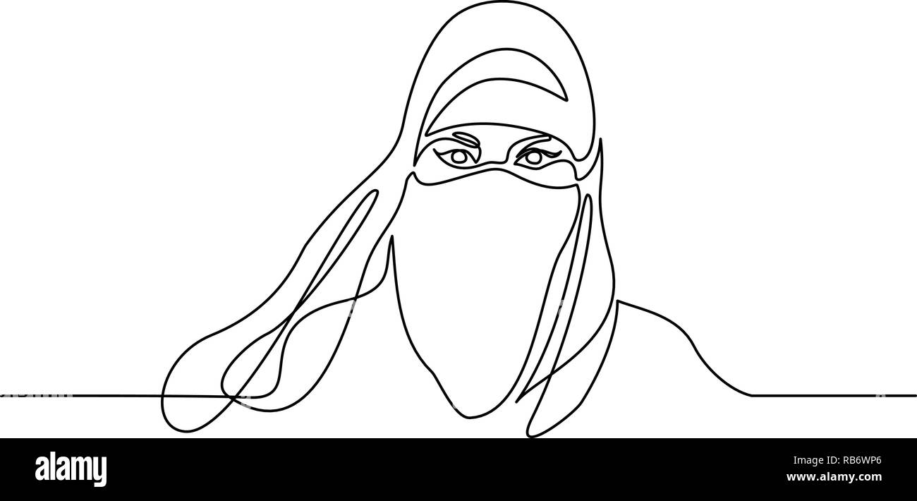 Continuous one line drawing. Abstract portrait of pretty young woman Arab nationality. Vector illustration - Stock Image