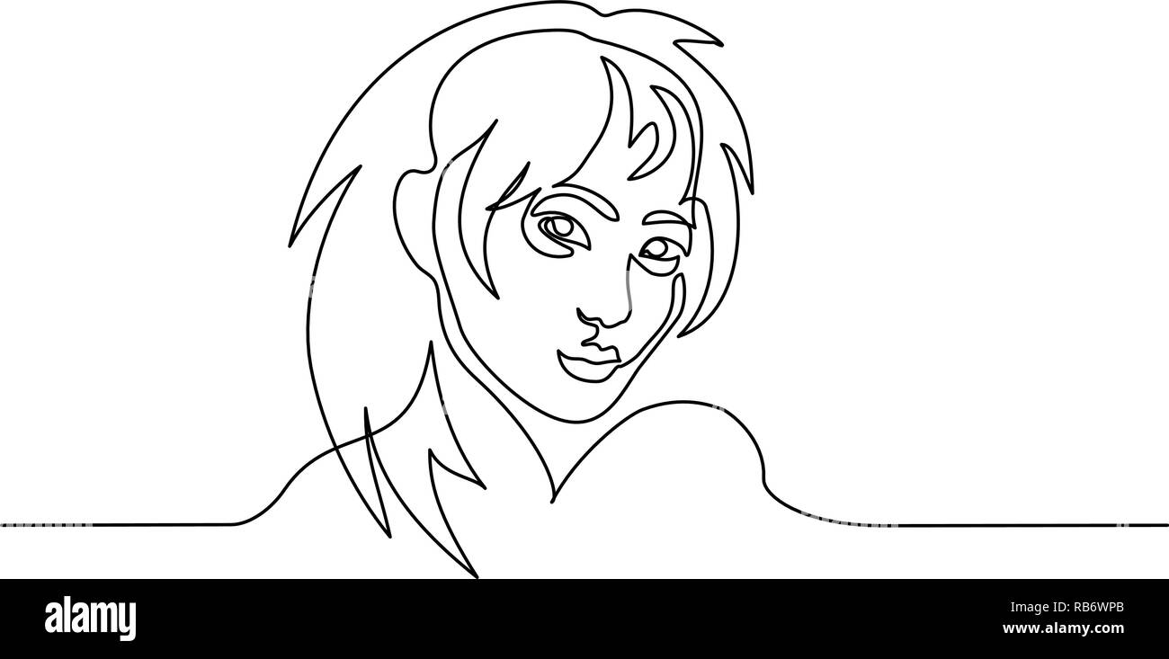 Continuous one line drawing. Abstract portrait of pretty young woman of Japanese nationality. Vector illustration - Stock Image