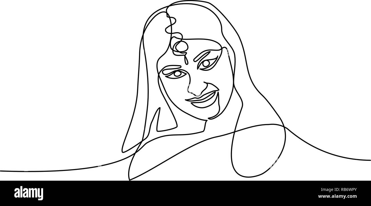 Continuous one line drawing. Abstract portrait of pretty young woman of Indian nationality. Vector illustration - Stock Image