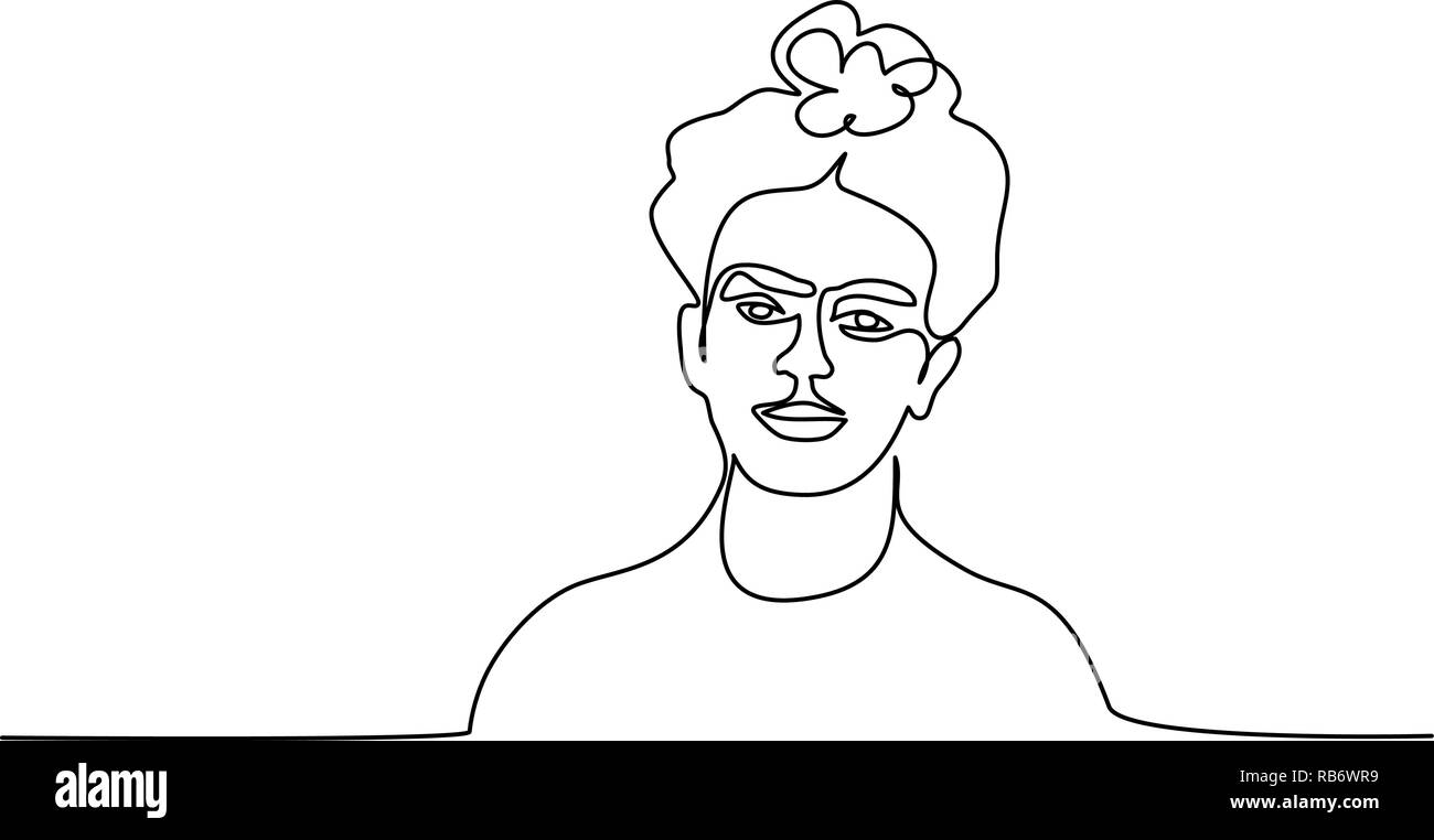 Continuous one line drawing. Abstract portrait of pretty young woman of mexican nationality. Vector illustration - Stock Image