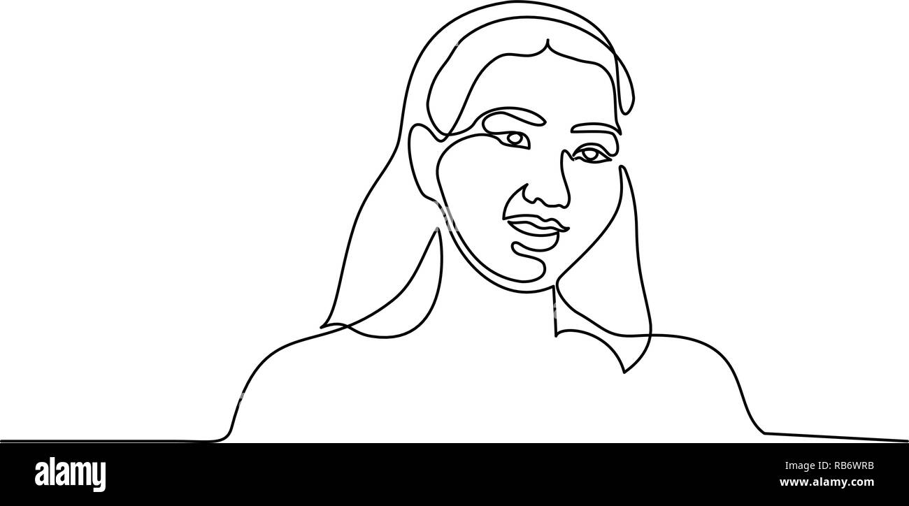 Continuous one line drawing. Abstract portrait of pretty young woman Mongolian ethnicitiy. Vector illustration - Stock Vector