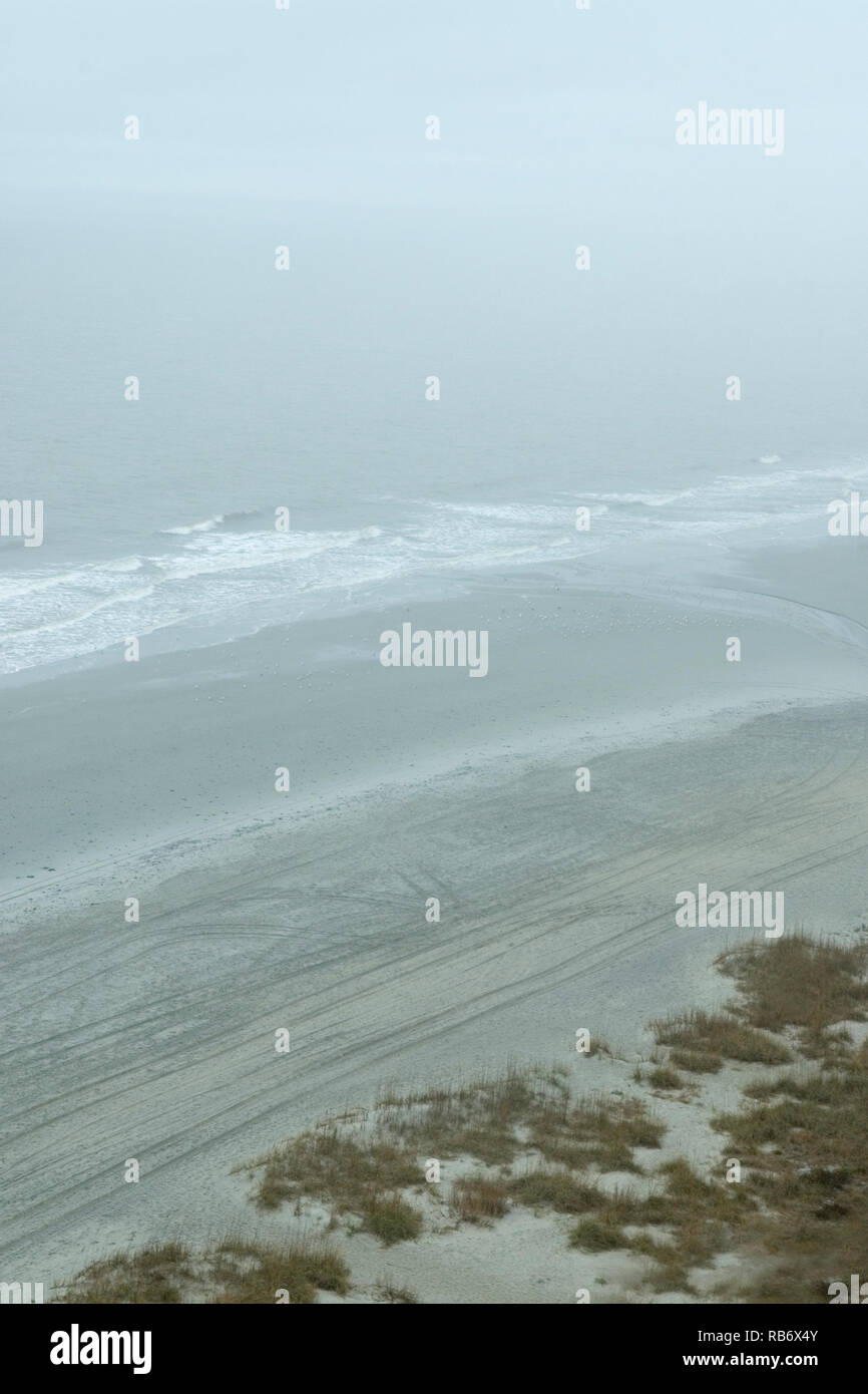 High angle shot of fog over the ocean at Myrtle Beach South Carolina, USA - Stock Image