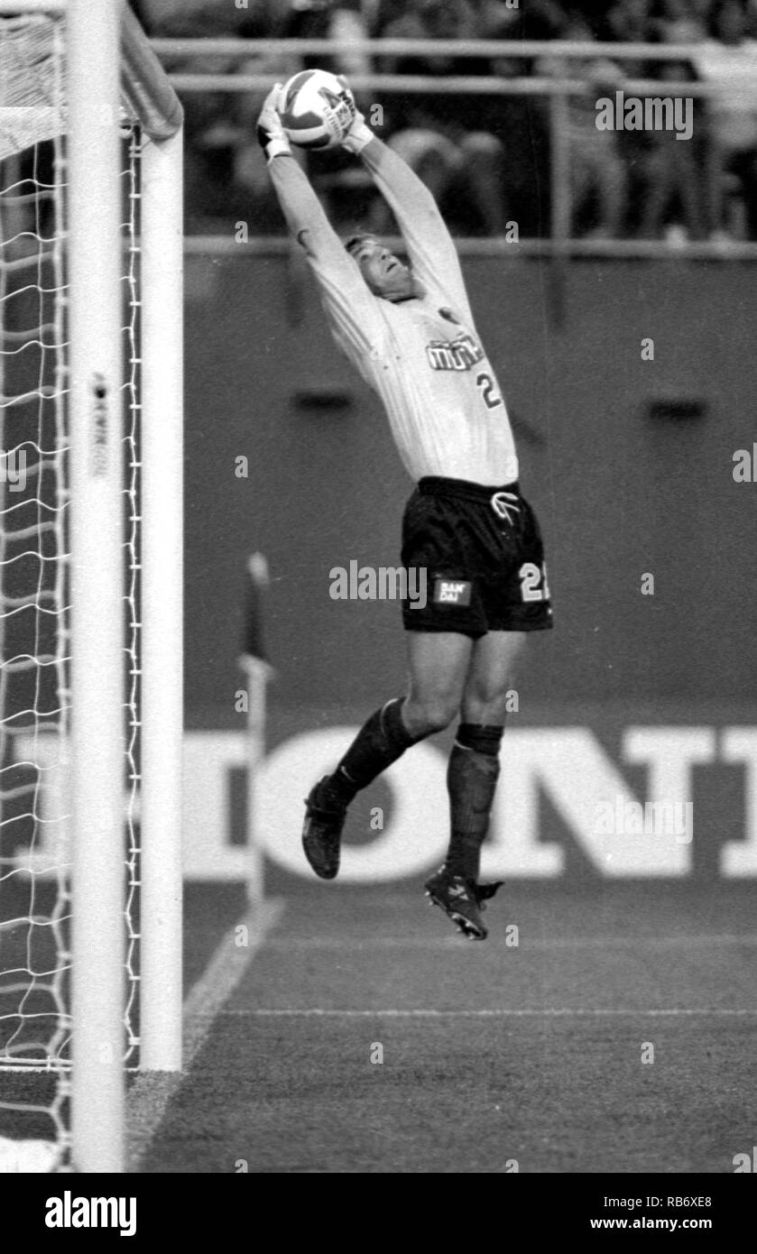 Revolution's goaltender Walter Zenga makes the save in action at Sullivan Stadium in Foxboro Ma USA 1997 photo by bill belknap - Stock Image