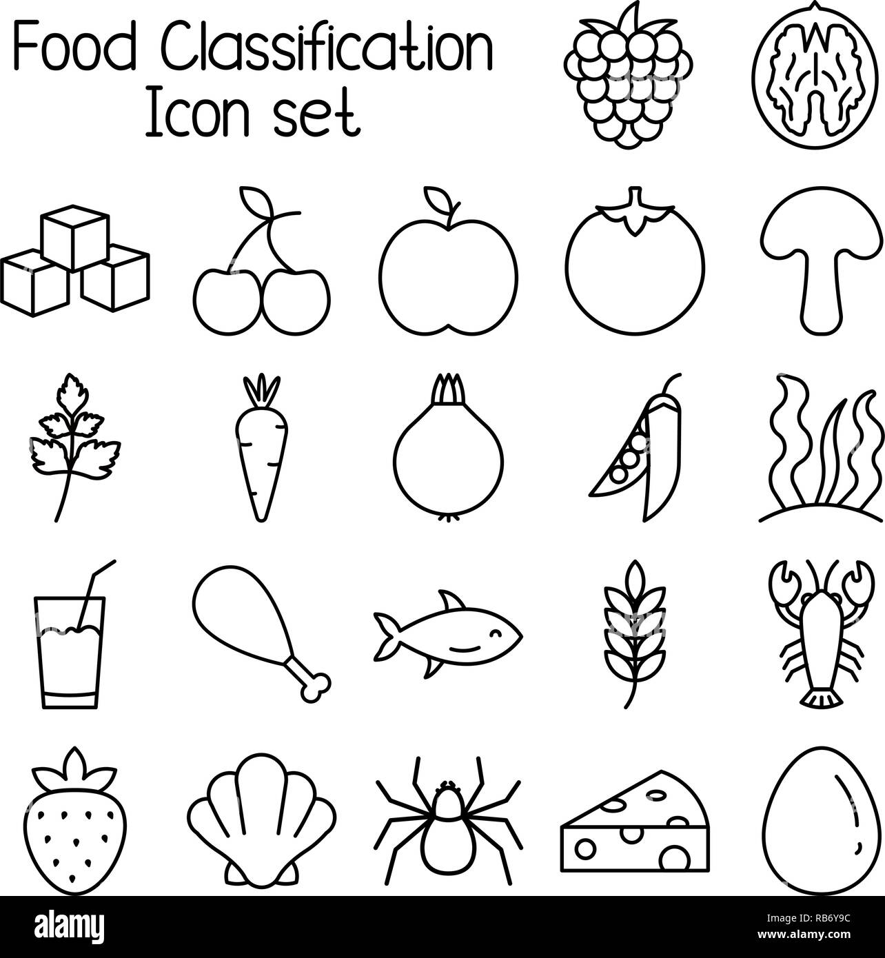 Food classification icon set, meal vector symbols. - Stock Vector