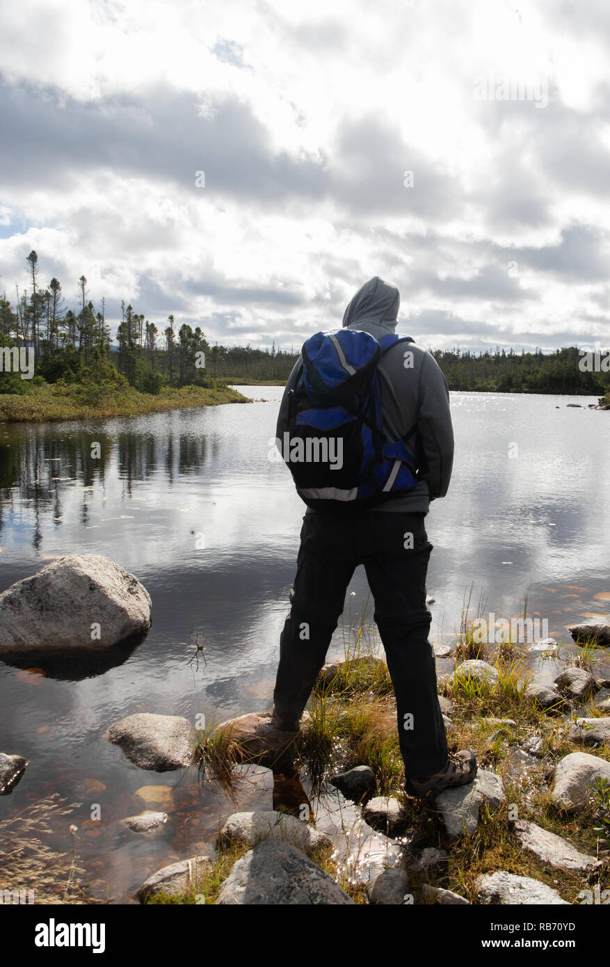 Hiker pausing at Little Pond Loop, Bakers Brook Trail, Newfoundland - Stock Image