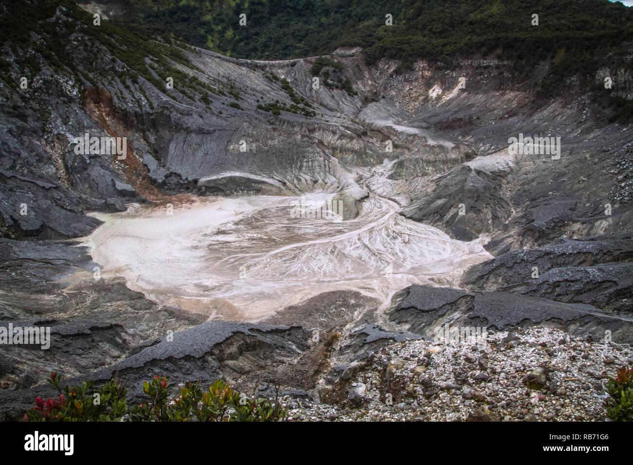 Tangkuban Perahu Volcanic Crater, Kawah Ratu West Java Indonesia - Stock Image