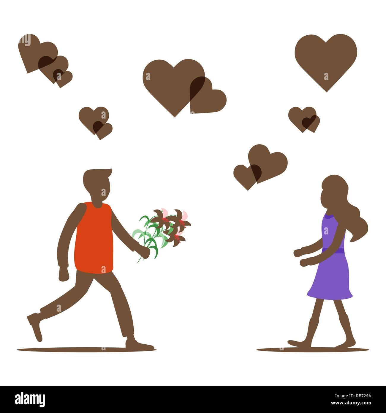 Young Man With Flowers Rushing For A Date Woman Hearts Birthday Valentines Day Mothers Vector Background Design Greeting Card Ban