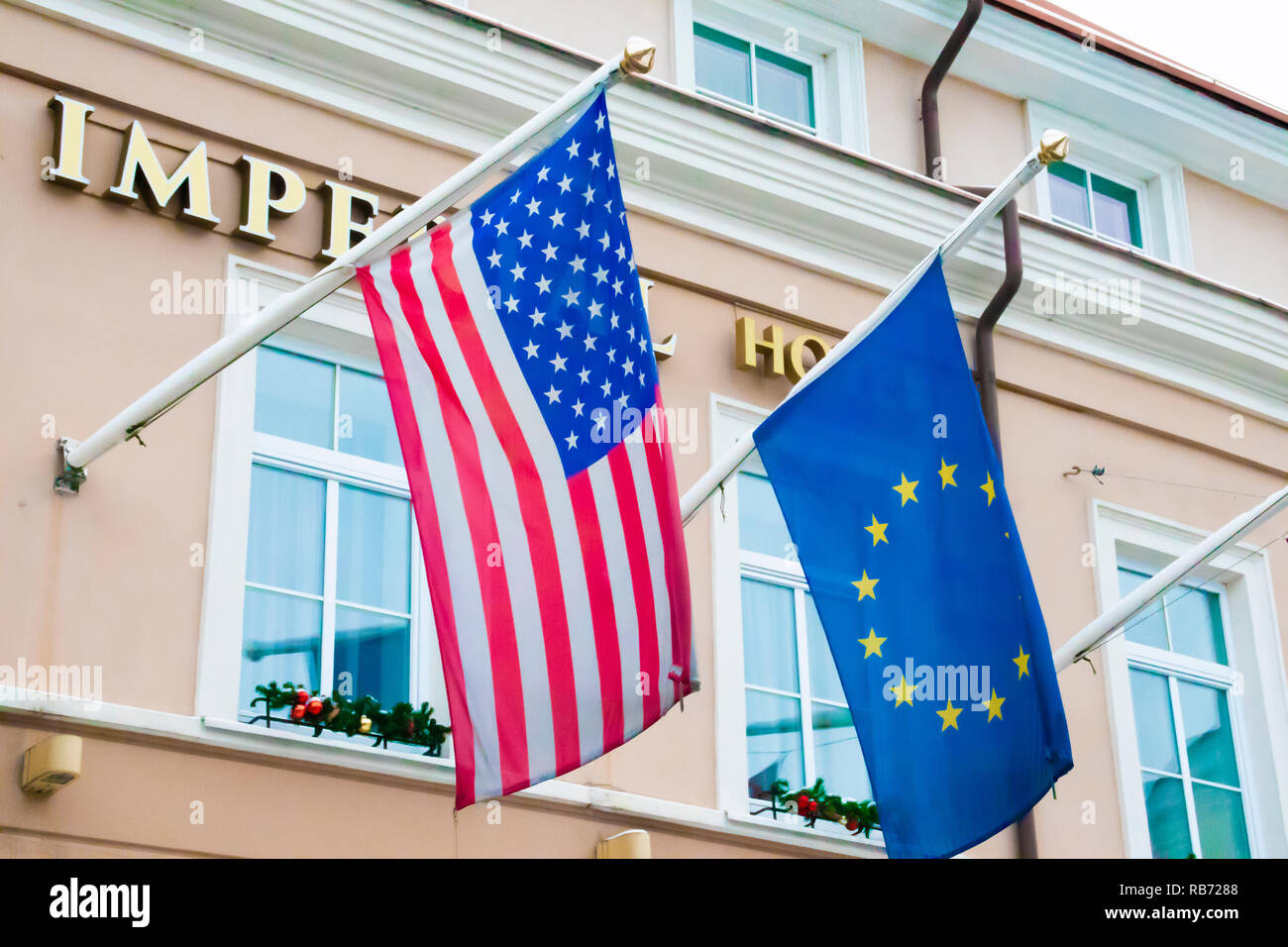 United States and European Union flags together - Stock Image