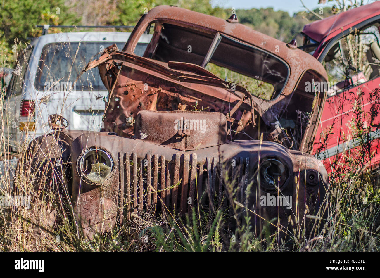 Old broken down Beetel car abandoned  in junk yard in Geargia, USA - Stock Image