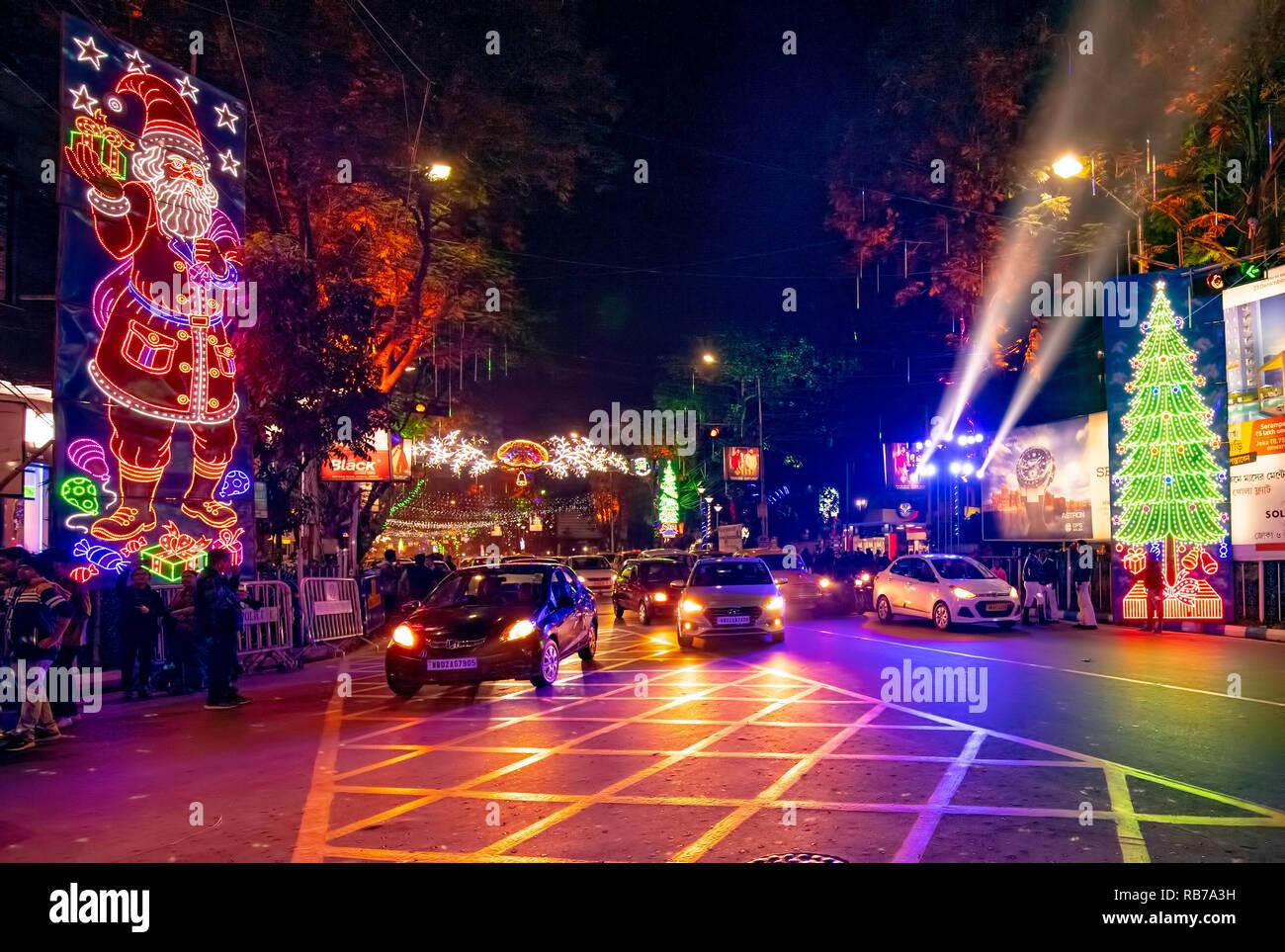 Park Street Kolkata During Christmas.Dusk Lighting Christmas Eve Park Street Cars People Festive