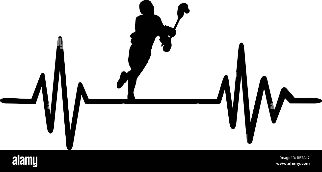 Heartbeat pulse line with a running lacrosse player - Stock Image
