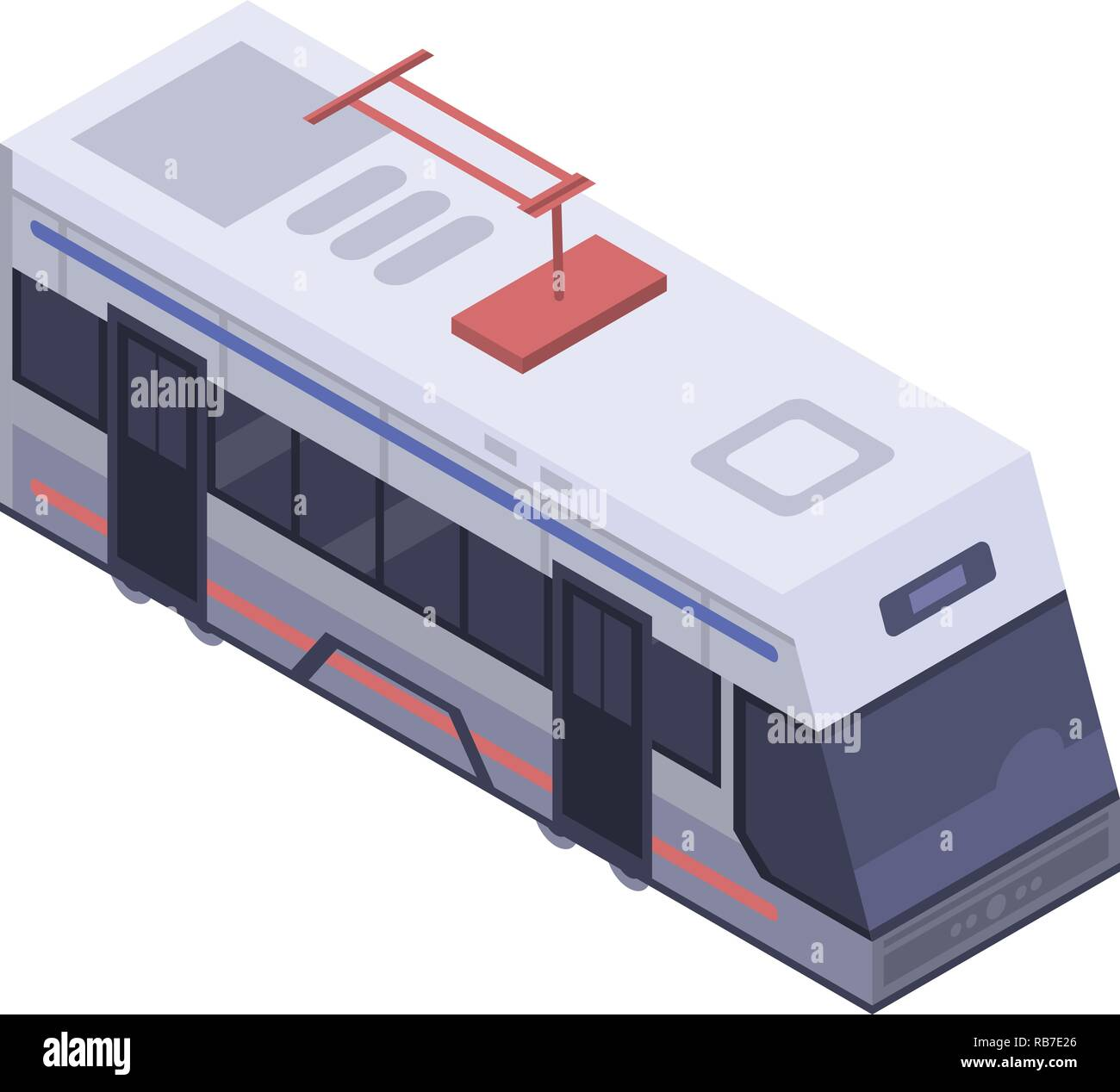 Tram car icon, isometric style - Stock Vector