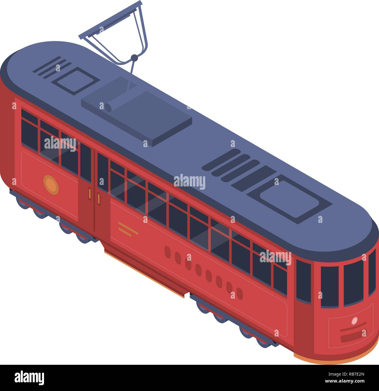 Classic tram car icon, isometric style Stock Vector