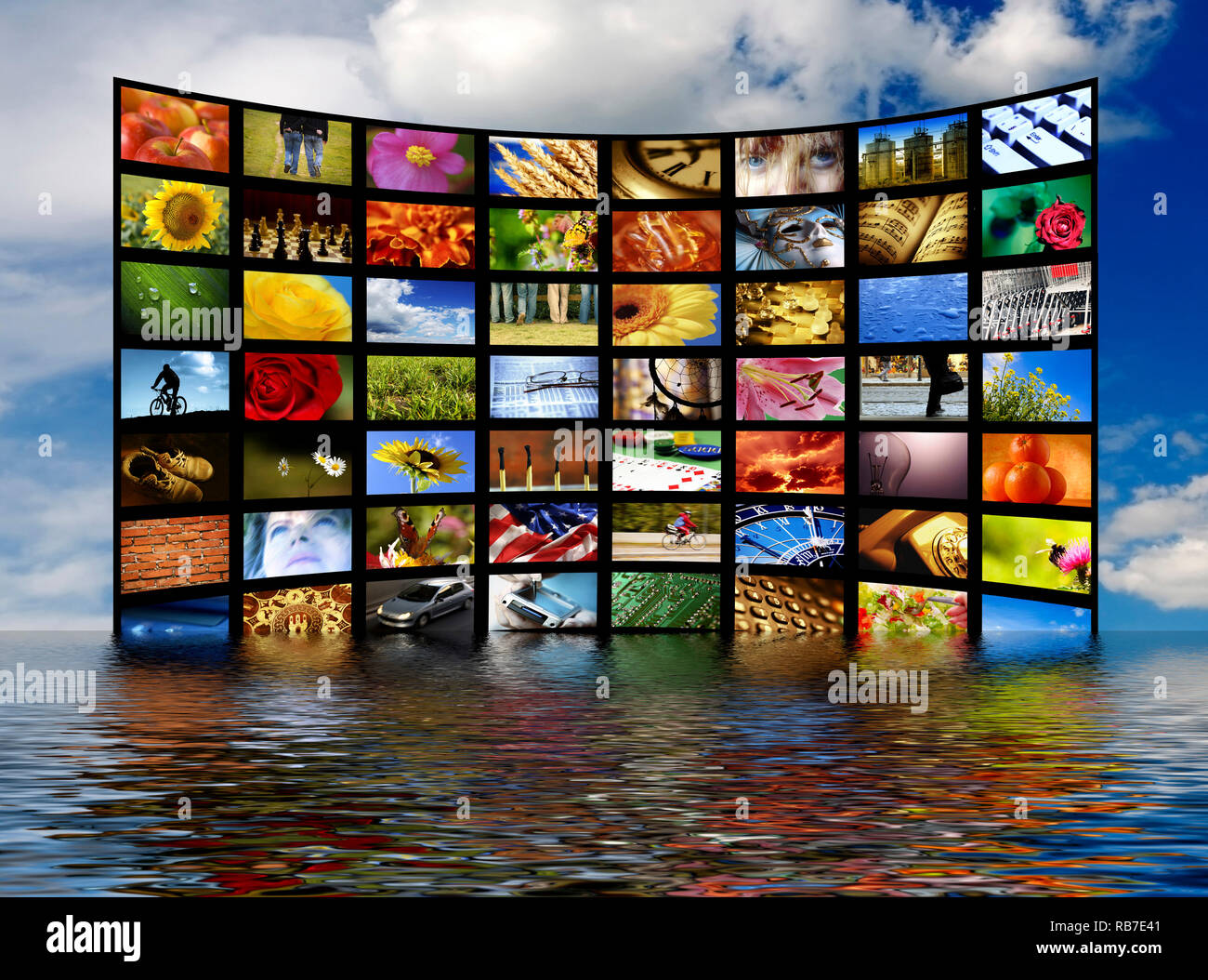 wall of many flat screens as concept for digital and satellite television - Stock Image