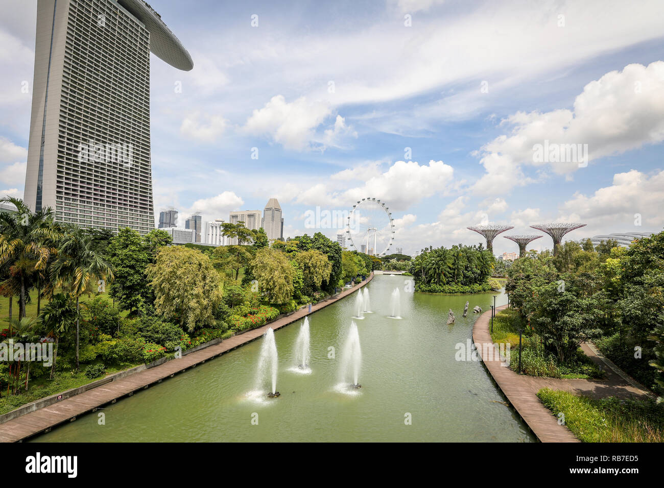 Singapore - december 2018: Dragonfly lake in the botanical garden, Gardens by the Bay in Singapore. Stock Photo
