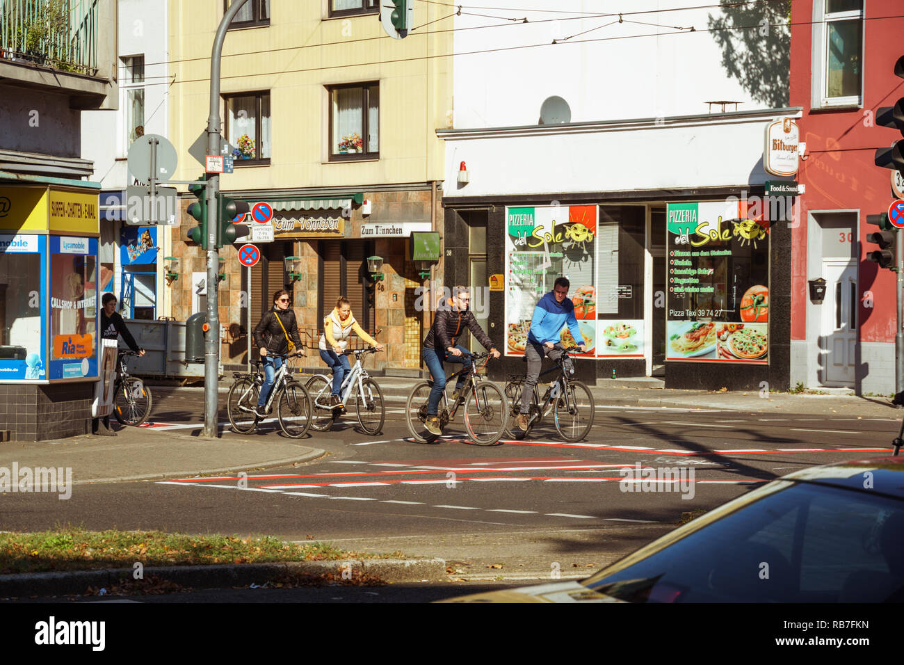 October 20, 2018 Germany Krefeld city. Bicycle as an ecological transport, means movement in Europe. A city dweller rides a bike - Stock Image