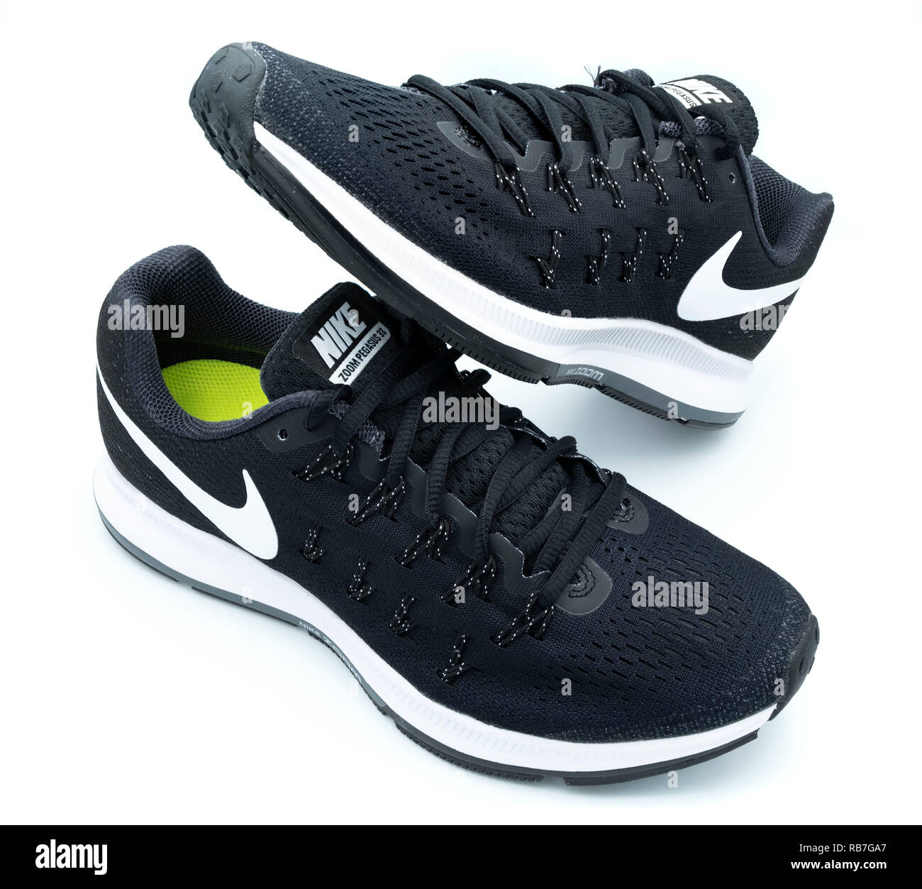 plus de photos a5ce4 e8292 Pair of black Nike Pegasus 33 running shoes cut out isolated ...