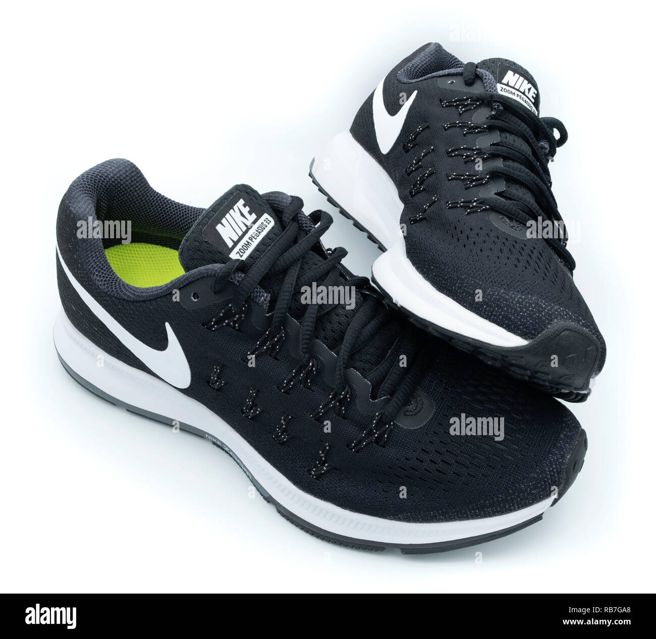 plus de photos ed153 46967 Pair of black Nike Pegasus 33 running shoes cut out isolated ...