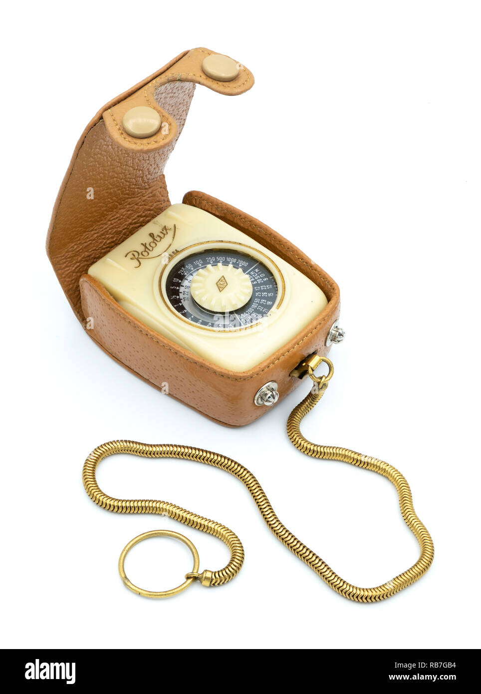 Retro vintage photographic equipment Rotalux light meter cut out isolated on white background - Stock Image