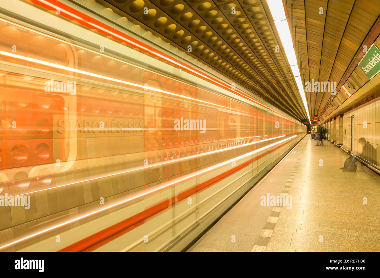 Staroměstská metro station, Prague Metro, Czech Republic. Stock Photo