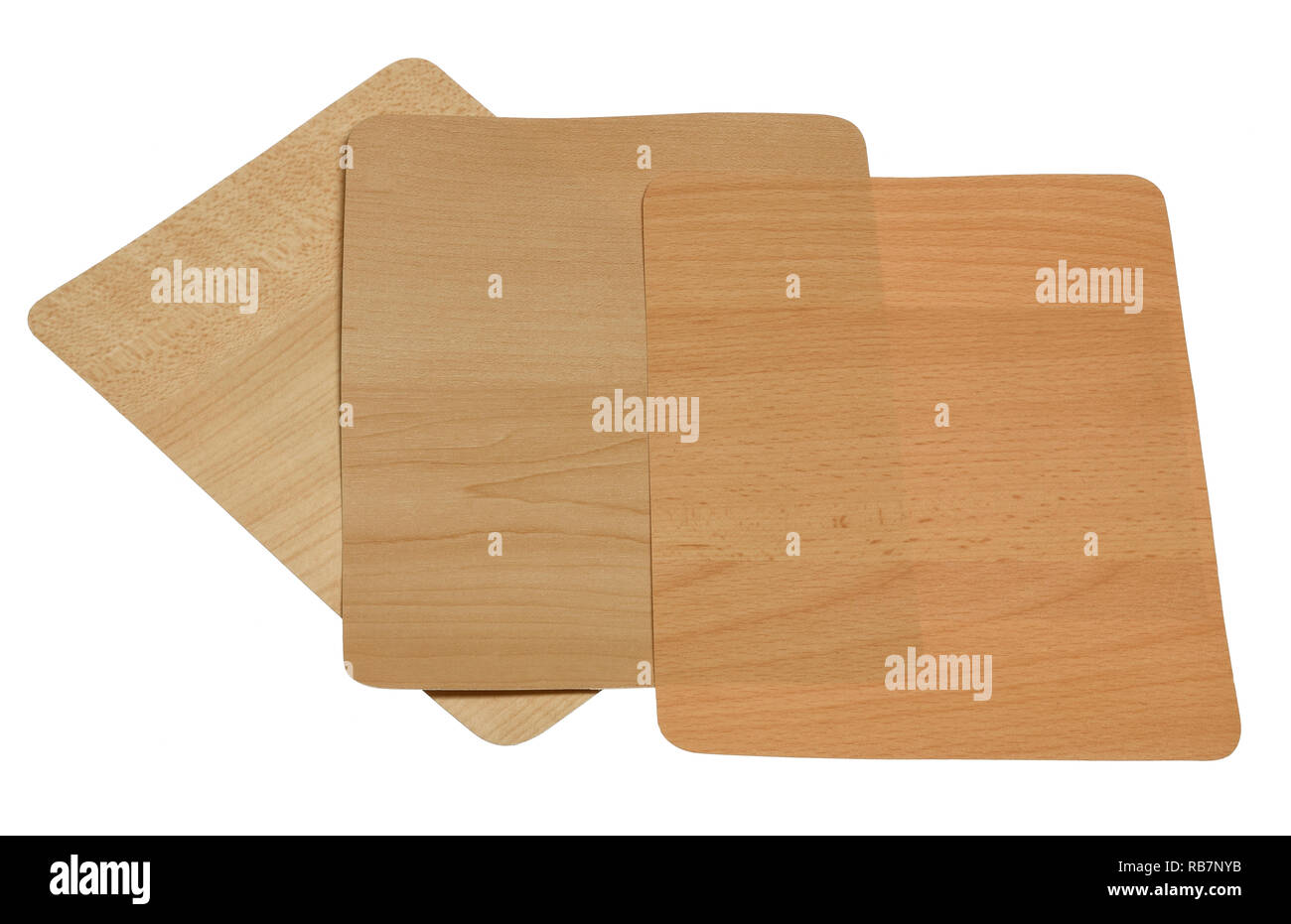 Three sample swatches of a wood effect for furniture panels - Stock Image