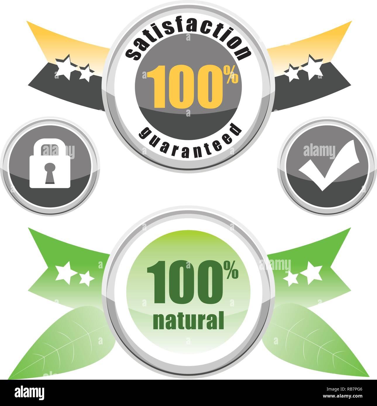 set labels, 100% natural, satisfaction guaranteed, buttons lock and check - Stock Vector