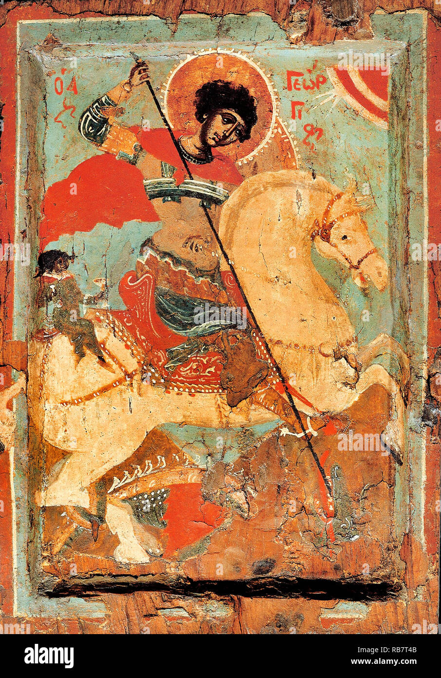 Macedonian workshop, St. George the Dragon-slayer on Horseback, Circa 1550-1599 Icon, Benaki Museum, Athens, Greece. - Stock Image