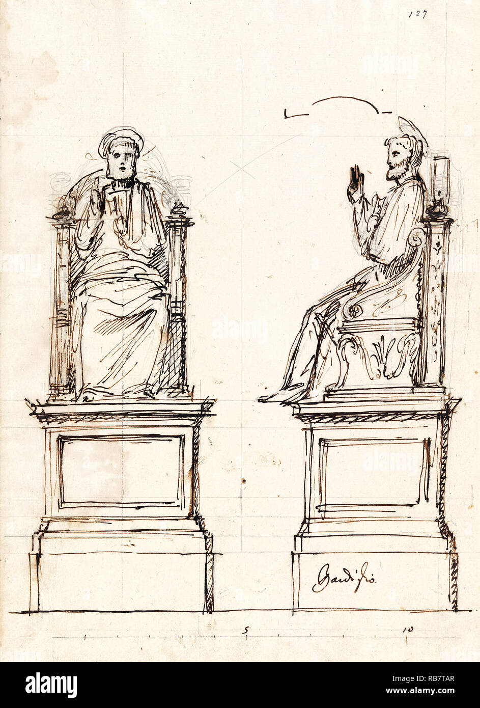 Luigi Vanvitelli, Design for a Marble Throne for the Statue of St. Peter, St. Peter's, Rome 1754 Drawings, Pen, brown ink, graphite on paper, Cooper Hewitt, Smithsonian Design Museum, USA. - Stock Image