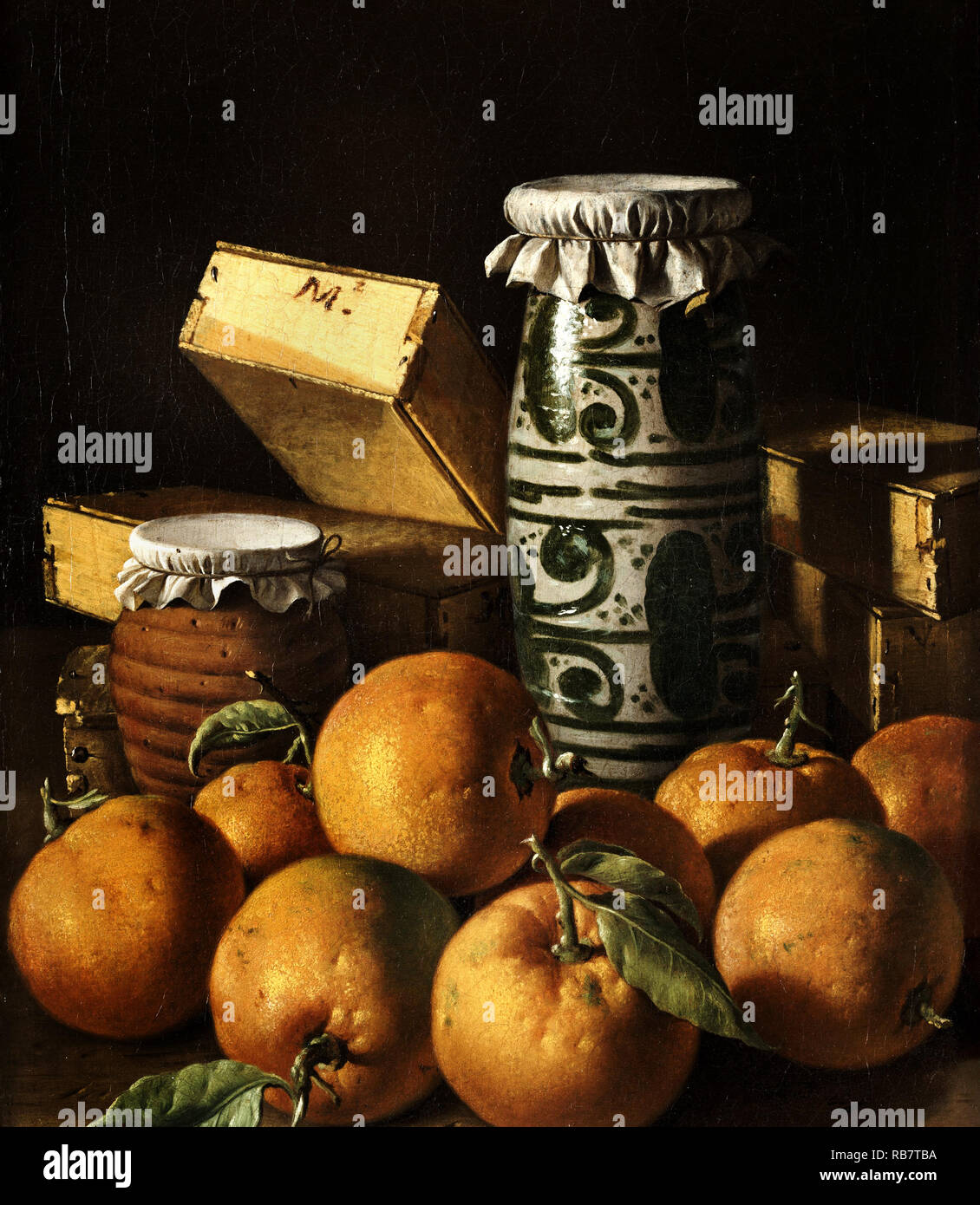 Luis Egidio Melendez, Still Life with Oranges, Jars, and Boxes of Sweets, Circa 1760, Oil on canvas, Kimbell Art Museum, Fort Worth, Texas, USA. - Stock Image