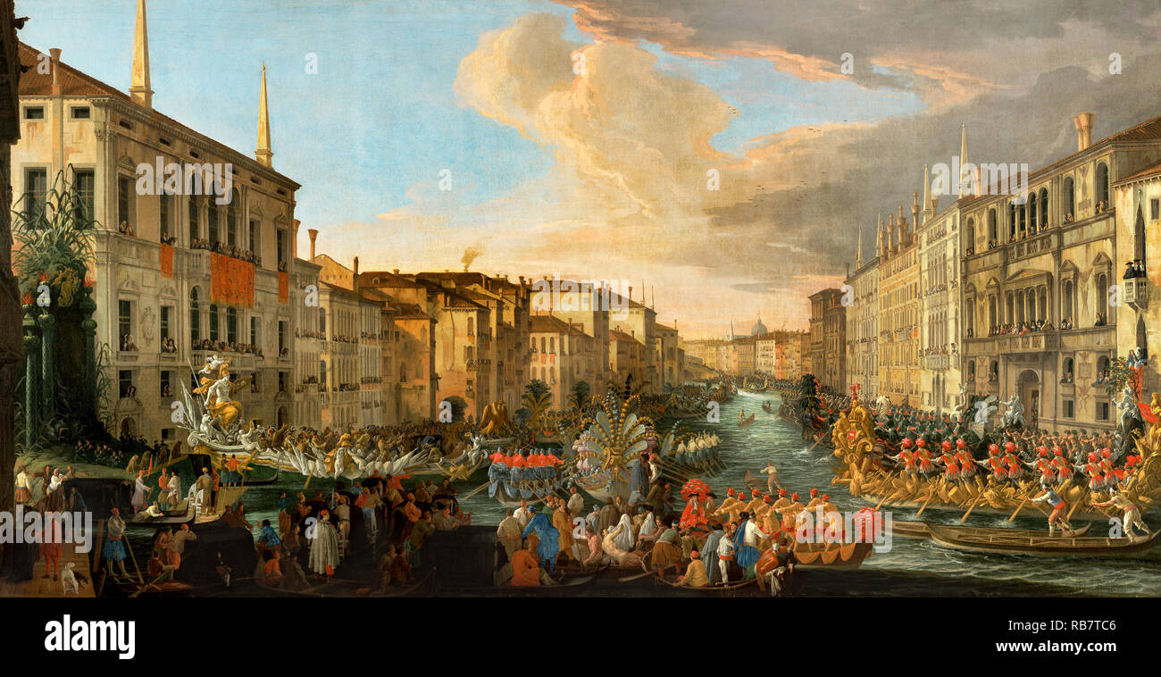 Luca Carlevarijs, Regatta on the Grand Canal in Honor of Frederick IV of Denmark 1711 Oil on canvas, The J. Paul Getty Museum, Los Angeles, USA. - Stock Image