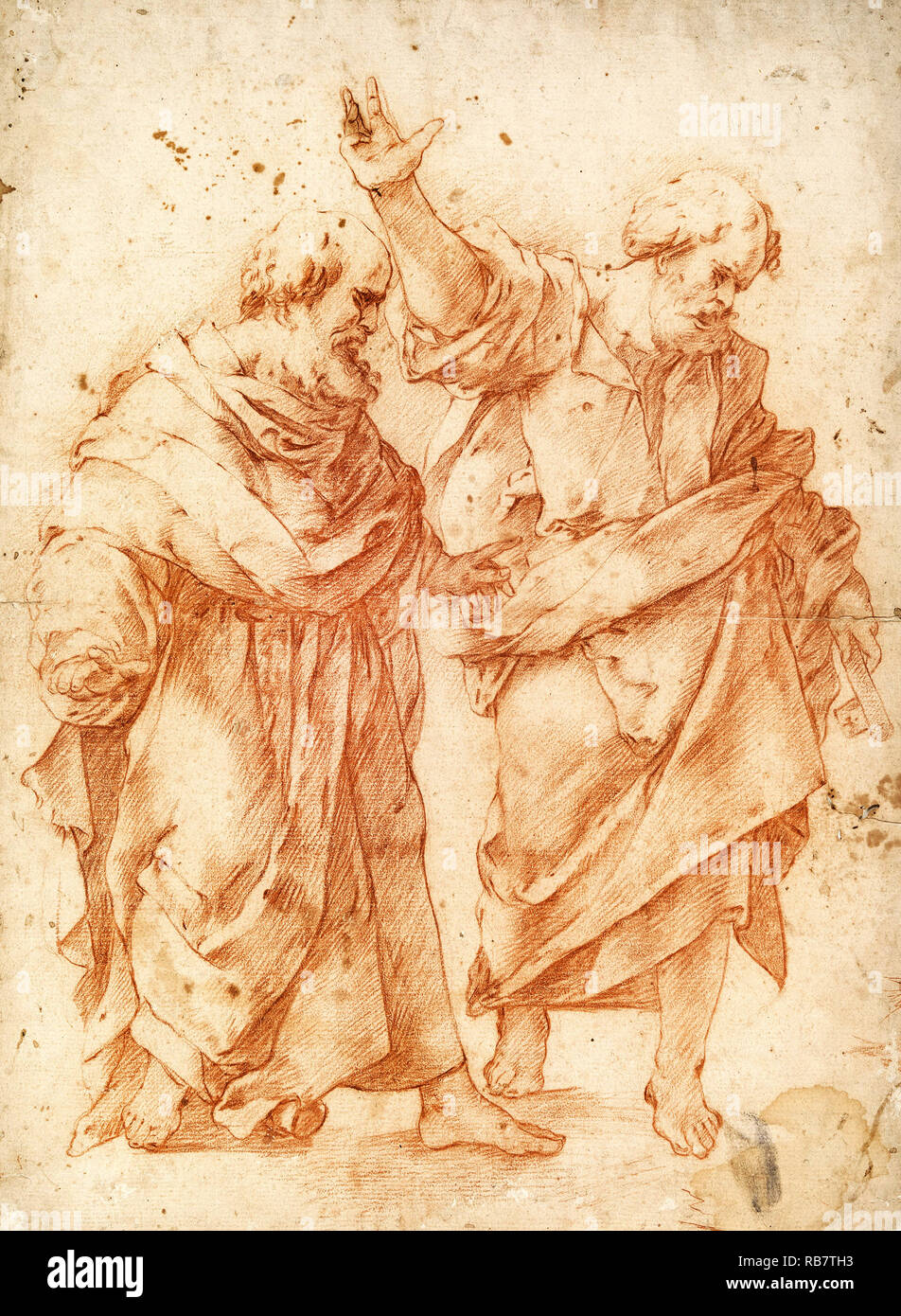 Luca Giordano, Two Apostles, Circa 1650 Red chalk on cream paper, drawing, Cooper Hewitt, Smithsonian Design Museum, USA. - Stock Image