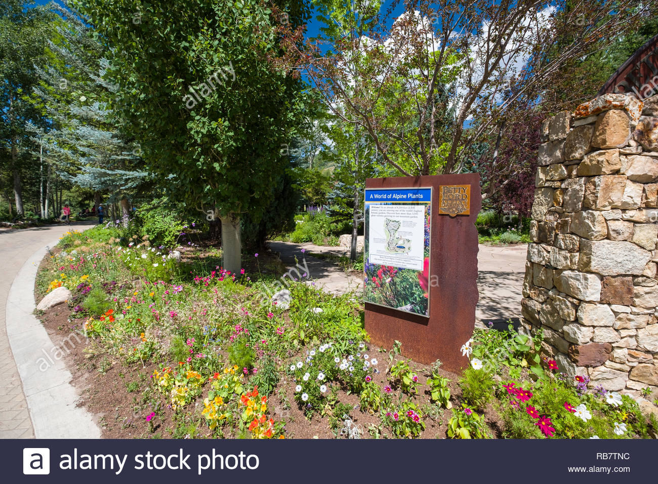 The Word Of Alpine Plants Sign, Betty Ford Alpine Gardens, Vail, Eagle  County, Colorado, USA