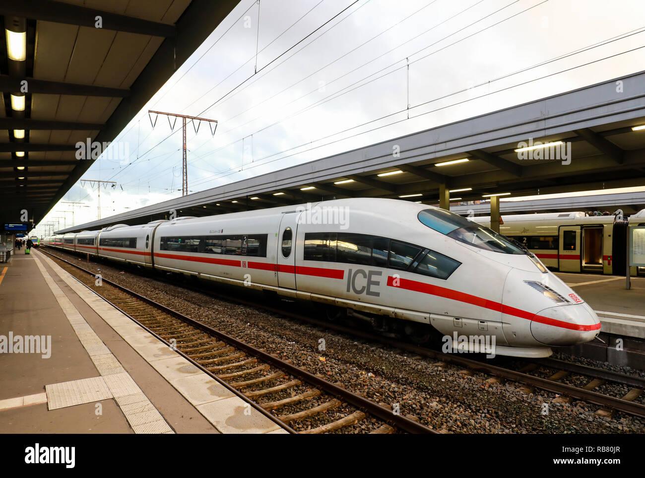 Essen, North Rhine-Westphalia, Ruhr area, Germany - ICE train at Essen central station. Essen, Nordrhein-Westfalen, Ruhrgebiet, Deutschland - ICE-Zug  - Stock Image