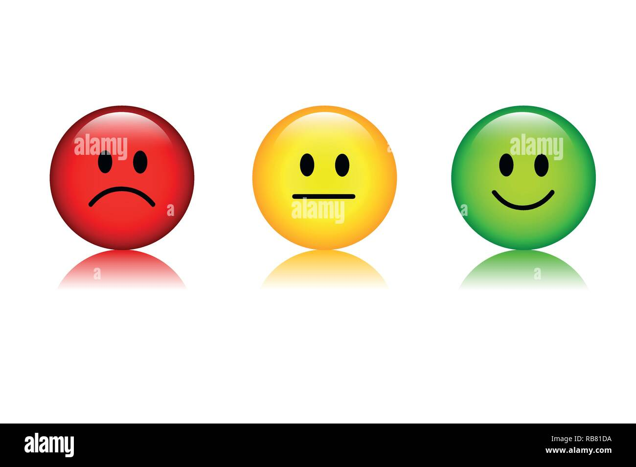 Green Smiley Face Stock Photos: Three Rating Smiley Faces Red To Green Icon Vector